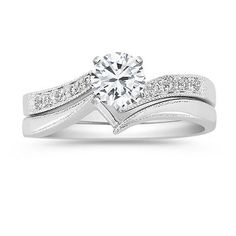 Swirl Diamond Wedding Set with Pave Setting from Shane Co.