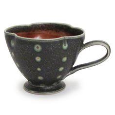 jeff kleckner cup with handle fluted, dark green porcelain 6 x 4.5 x 3.5