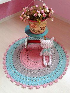 Crochet Home, Crochet Rugs, Wool Art, Floor Rugs, Ideas Para, Home Accessories, Free Pattern, Crochet Patterns, Carpet