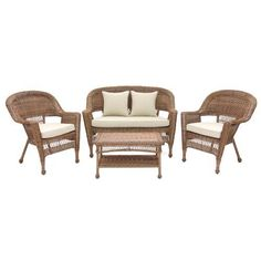 "4pc Honey Wicker Conversation Set - Tan Cushions by Wicker Lane. $499.99. Includes 2 chairs, loveseat, and coffee table. Comes fully assembled. Made from all weather resin wicker. Steel frame for extra durability.. Includes 3.5"" thick cushions and 2 throw pillows. For indoor or outdoor use. • 1 Settee - 51""L x 25""W x 36""H, 26lbs • 1 Coffee Table - 28.5""L x 17""W x 17""H, 14lbs • 2 Chairs - 29.5""L x 26""W x 36""H, 17lbs Made from durable, all-weather resin wicker over a powder..."