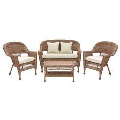 4pc Honey Wicker Conversation Set Tan Cushions By Lane 499 99 Includes 2 Furniture Setsoutdoor Furniturepatio