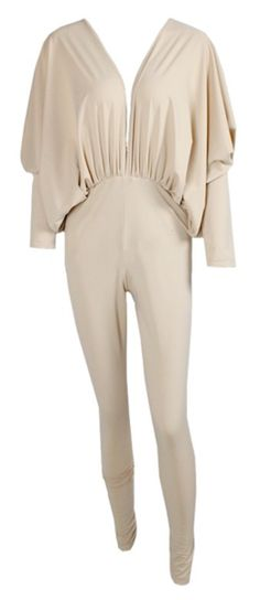 Ariana Dolman Sleeve Open Back Jumpsuit - Nude from RawGlitter.com