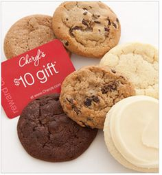 """Receive a FREE 6-piece Cookie sampler & $10 gift card -- No Promo Code Required  Just pay $6.99 shipping&handling    """"We've included 6 of our most popular flavors: chocolate chip, oatmeal raisin, sugar, snickerdoodle, chocolate chocolate chip and our FAMOUS buttercream frosted cookie.""""    BONUS OFFER - Gift will arrive with a $10 Reward Card to use towards a future Cheryl's purchase in next four months."""