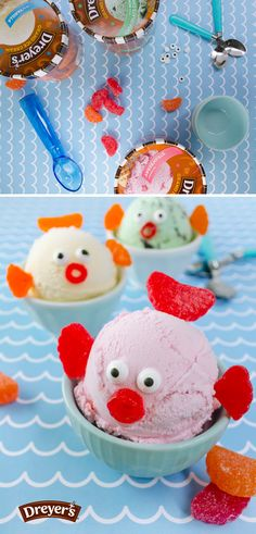 Dreyer's Ice Cream Fish: Your kids' imaginations will be swimming with this family-friendly dessert! Dish out colorful scoops of your favorite Dreyer's ice cream flavors and let the kids have fun decorating them with jelly beans, fruit snacks or whatever colorful candies you can get your hands on!