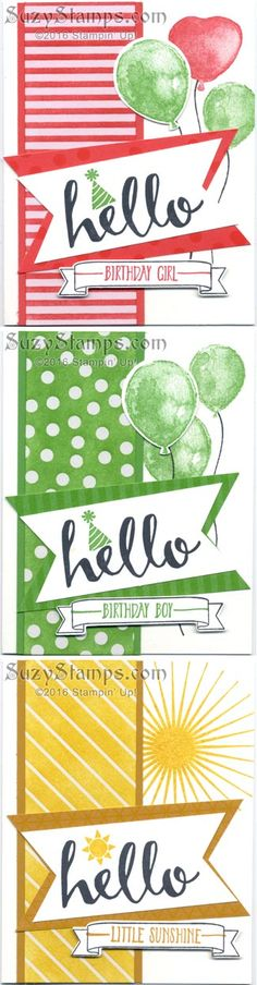 Stampin' Up! Cards - 2016-02 Class - Hello Sale-A-Bration stamp set, Kinda Eclectic, Balloon Builders and Number of Years stamp sets, Balloon Bouquet and Banner Triple Punches, Large Numbers Framelits Dies and Color Me Irresistible Specialty Designer Series Paper