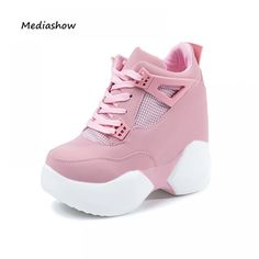 Fashion brand Autumn Winter Women's High Platform Shoes Height increasing leathe Shoes Thick Sole Trainers Lady Shoes pink white Price: 42.92 & FREE Shipping #fashion #tech #home #lifestyle High Platform Shoes, High Shoes, Lace Up Shoes, Flat Shoes, White Heel Boots, Lace Wedges, Super High Heels, Wedge Sneakers, Shoes
