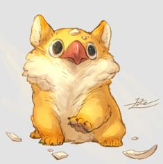 by Le Yamamura Cute Fantasy Creatures, Mythical Creatures Art, Cute Creatures, Cute Animal Drawings, Animal Sketches, Cute Drawings, Drawing Sketches, Drawing Ideas, Chibi