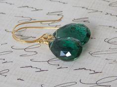 Beautiful, Dark Emerald-Green Quartz Briolette, Gemstone Earring on Etsy, $28.00