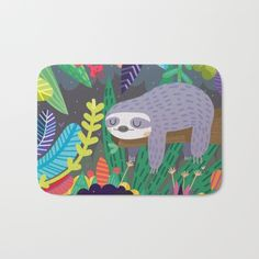 Sloth in nature Bath Mat by Maria Jose Da Luz. Worldwide shipping available at Society6.com. Just one of millions of high quality products available.