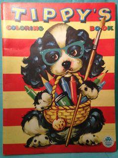 Vintage 1950s 1959 Tippy Dog Kids Coloring Book Unused Merrill Publishing
