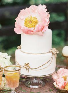 Pink peony topped #wedding cake   Vicki Grafton Photography