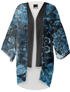 Teal Vintage Floral Shimmer Kimono