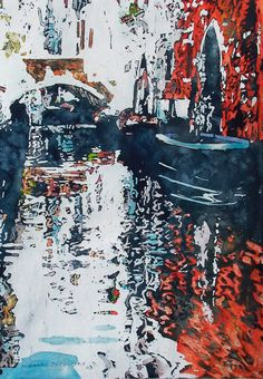 """red arch, canal venice 16"""" x 11"""" micheal zarowsky / watercolour on arches paper / available $400.00"""