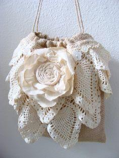Dollar Dance Bag Vintage Lace Doily Burlap Wedding by ShabbySoul