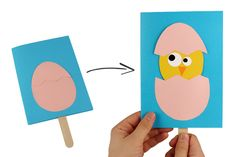 DIY Easter: the chick comes out of his egg! A fun activity to f . - DIY Easter: the chick comes out of his egg! A fun activity to f . Easter Arts And Crafts, Spring Crafts, Useful Origami, Fun Origami, Diy Ostern, Diy For Kids, Activities For Kids, Cards, Doodle Canvas
