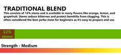 LEAF-STYLE BLEND – SIN PALOS This contains only 1% of stems so has more nutrients and a stronger flavor. Better nutrient extraction is offered with this blend as the low stem content produces more compression around the bombilla.