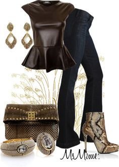 A fashion look from September 2012 featuring holiday shirts, flare jeans and leather ankle boots. Browse and shop related looks. Leather Peplum, Snake, Autumn Fashion, Style Inspiration, Shoe Bag, My Style, Polyvore, Shopping, Shoes