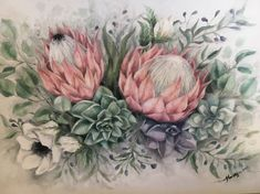 Proteas and succulents. Oil on canvas, by Mariki Protea Art, Protea Flower, Flower Bird, Succulent Tattoo, Blue Flower Wallpaper, Australian Flowers, Decoupage Paper, Botanical Art, Art Forms