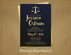 Elegant Navy and Gold Law School Graduation Invitation and Graduation Announcement,Law Degree,Opt Back Print,Customizable With Envelopes