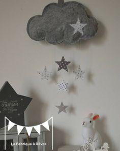 Mobile suspension nuage et étoiles gris clair gris foncé blanc - décoration chambre bébé enfant garçon