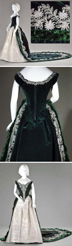 Russian court dress, Worth, ca. 1888. Silver moiré skirt and emerald green silk velvet boned bodice with matching 12-foot train. It is trimmed with a band of silk fringe and velvet ruffles. Indianapolis Museum of Art