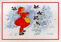 AK - Künstlerkarte - AINA STENBERG - MÄDCHEN - VÖGEL - Gelaufen 1985 - Schweden