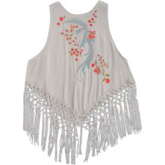 Fringed Embroidered Tank Top Light Beige ($20) ❤ liked on Polyvore featuring tops, fringe tank top, embroidered tank top, fringe tank, fringe tops and beige tank top