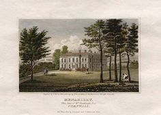 Antique print of Menabilly, Cornwall - the inspiration for Manderley in the novel Rebecca (from antique-prints-maps.com)