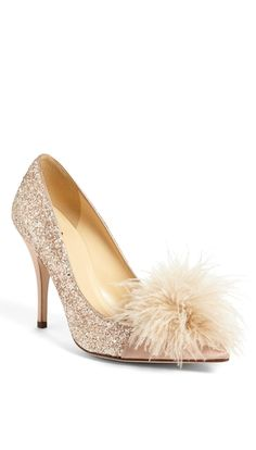 This glitter Kate Spade pump is everything. How cute is the feather on the toe?