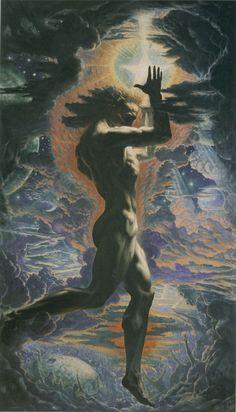 Jean Delville-Prométhée, 1907, Oil on canvas, 500 x 250, Brussels, Iniversité Libre de Bruxelles