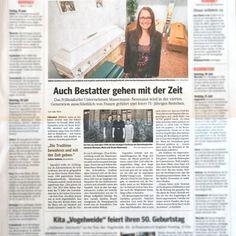 """WAZ-Pressebericht """"Auch Bestatter gehen mit der Zeit"""""""