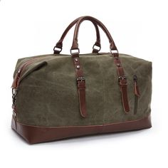aef5db0e39387 Vintage Military Canvas Leather Men Torby podróżne Carry on Luggage Bags  Women Duffel Bags Travel Tote