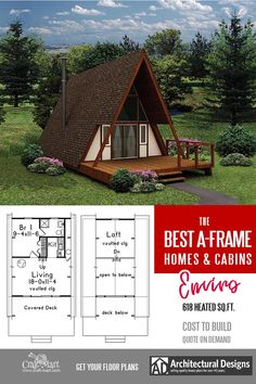 A-Frame with a Loft and a Deck. Take a look at other inexpensive and easy-to-build A-frame house plans. Read about cons and pros of A-frame cabins and small homes. A Frame House Plans, Small Cabin Plans, Small House Floor Plans, Cabin Floor Plans, Tiny Cabins, Tiny House Cabin, Tiny House Design, Build A Frame, Building Costs