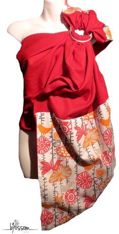 Ring sling Blossom. Fait au Québec à la main. ✄Tissu rouge 55% lin 45% viscose . La pointe et lépaule sont doublées dun 100% coton. Finition en