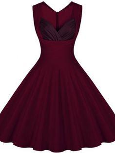Retro Sweetheart Neck Sleeveless Spliced A-Line Women's Dress