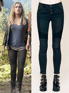 "Clarke Griffin (Eliza Taylor) wears a Free People Seamed Moto Skinny in the color Moonlight in The 100 Season 2 Episode 6 ""Fog of War."" #clarke #the100 #cw"