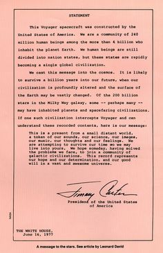 President Jimmy Carter's letter to other galactic civilizations