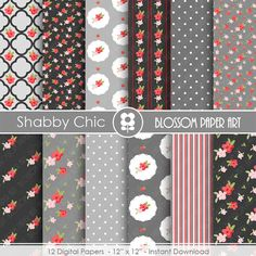 Grey Floral Paper, Black and White Digital Paper Pack, Shabby Chic Scrapbooking - INSTANT DOWNLOAD  - 1734