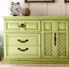 Amazing tutorial!! She turned a 1970's dresser into fabulous.  Step by step instructions.