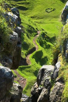 Worn path up to Castle Ewen, the Fairy Glen, on the Isle of Skye, Scotland.