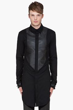 DENIS GAGNON Black Leather Front Shirt <-- The leather panel is awesome and a good way to add some textural interest.