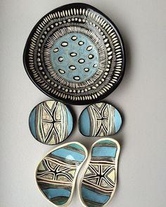 Blue Butterflies and a Black Flecked Midden #ceramics #butterflydesign #ceramics #design #australia #aboriginal