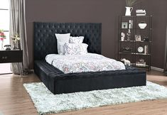 """CM7897DG Red barrell studio linford Davida dark grey tufted flannelette fabric queen bed frame set with storage. Measures 99"""" x 86 1/2"""" x 60"""" H. Also available in Cal king and Eastern King. Some assembly required. King Bedding Sets, Queen Size Bedding, Black Queen, Black King, King Beds, Queen Beds, Cossette, Upholstered Platform Bed, Black Bedding"""