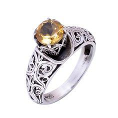 Natural Cut Citrine Gemstone Ring 925 Sterling Silver Wedding Engagement Gift #Handmade #Filigiri #Wedding