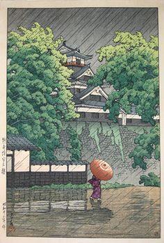 Kawase Hasui (1883-1957): Udo Turret, Kumamoto Castle, woodblock print, ca. 1948. SOLD.