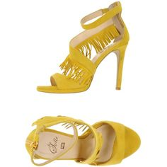 Le Stelle Sandals ($110) ❤ liked on Polyvore featuring shoes, sandals, yellow, leather sandals, yellow shoes, rubber sole shoes, round cap and yellow stilettos
