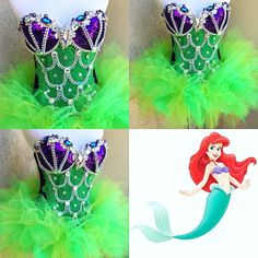 Ariel Corset: (Small) with Small Tutu Ariel Costumes, Cute Costumes, Dance Costumes, Cosplay Costumes, Rave Festival, Festival Dress, Festival Outfits, Sexy Mermaid Costume, Princess Aprons