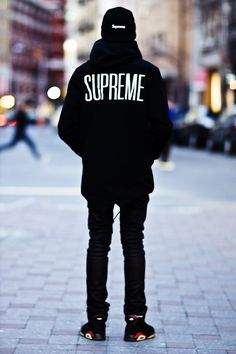 Supreme. All black everything! | More outfits like this on the Stylekick app! Download at http://app.stylekick.com