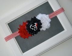 Houston Texans Football Baby Girl Shabby Chic Fabric Flower Headband with Navy Blue, Red and White Any Size by TokenBlonde on Etsy
