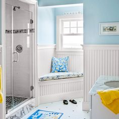 An awkward corner in the bath becomes an ideal spot to sit while slathering on lotion or blow-drying your hair. | Photo: Eric Roth | thisoldhouse.com